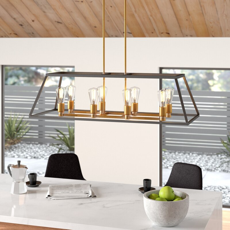 Shisler 8 Light Kitchen Island Linear Pendant With Odie 8 Light Kitchen Island Square / Rectangle Pendants (View 15 of 25)