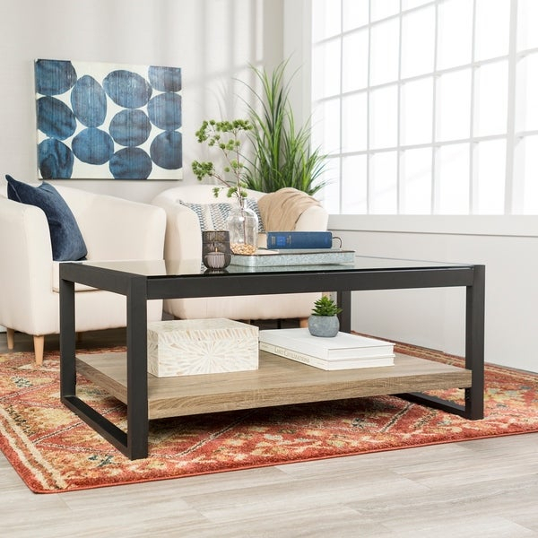 "Shop 48"" Urban Blend Coffee Table With Glass Top – 48 X 24 X For Carbon Loft Hamilton 48 Inch Coffee Tables (View 10 of 25)"