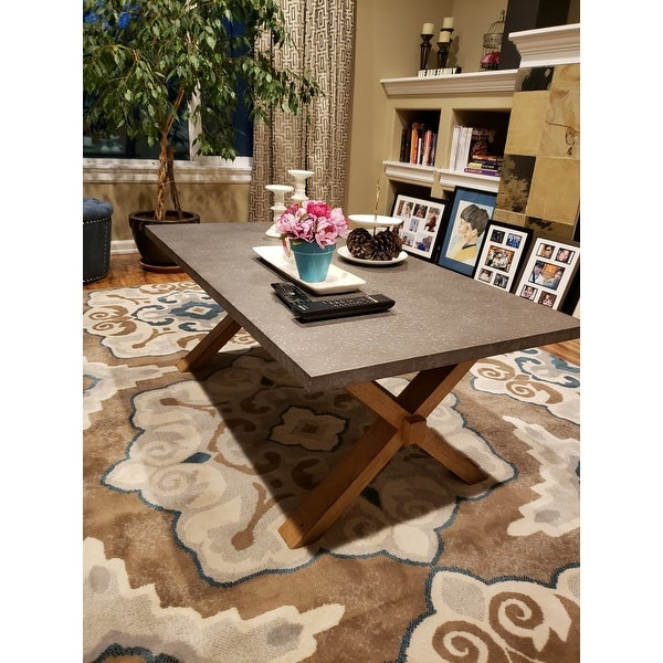 Featured Image of Aberdeen Industrial Zinc Top Weathered Oak Trestle Coffee Tables