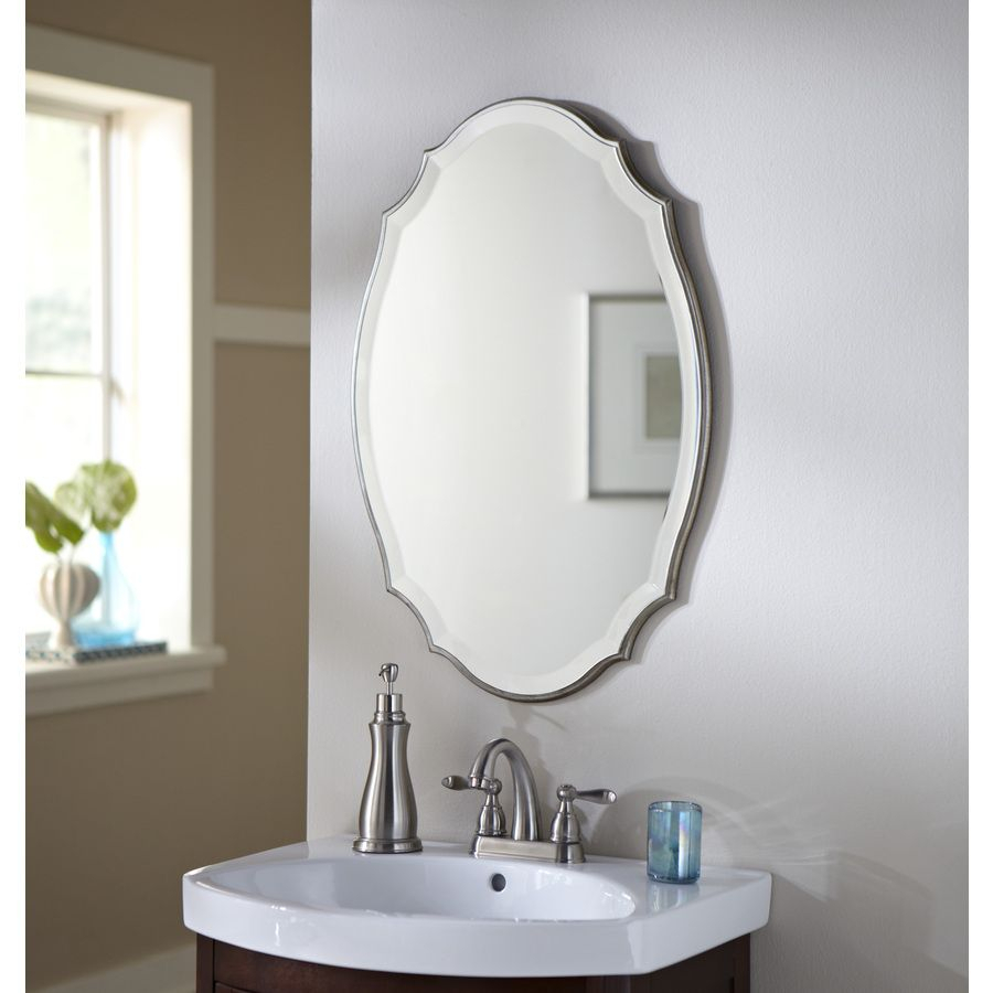 Shop Allen + Roth 20 In X 30 In Silver Beveled Oval Framed Within Thornbury Oval Bevel Frameless Wall Mirrors (View 3 of 20)