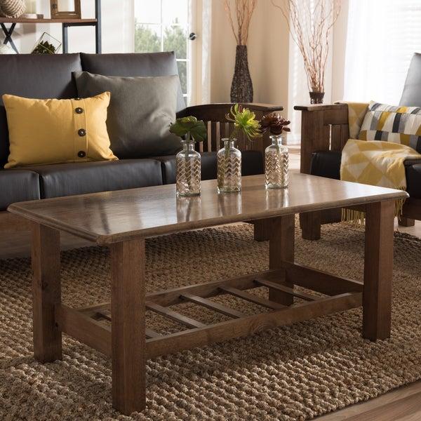 Shop Baxton Studio Callidora Modern Classic Mission Style Inside Mission Walnut Coffee Tables (View 15 of 25)