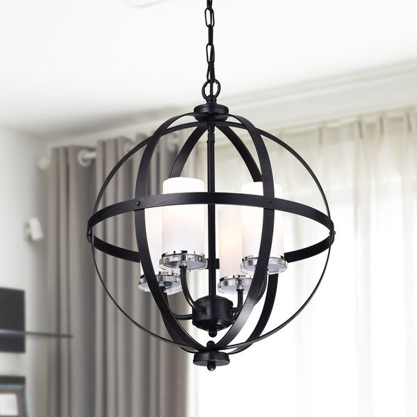 Shop Benita Antique Black Iron Orb Chandelier With Glass Intended For Donna 6 Light Globe Chandeliers (Image 19 of 20)