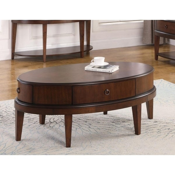 Shop Best Master Furniture Walnut Oval Coffee Table – Free Within Winslet Cherry Finish Wood Oval Coffee Tables With Casters (View 20 of 25)