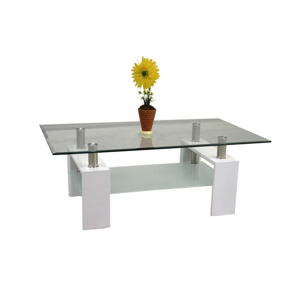 Shop Best Quality Furniture Rectangular Glass Top Coffee Throughout Finbar Modern Rectangle Glass Coffee Tables (View 9 of 25)