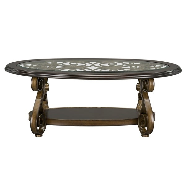 Shop Bombay Oval Cocktail Table With Glass Top, Brown – Free With Gracewood Hollow Fishta Antique Brass Metal Glass 3 Piece Tables (View 18 of 25)