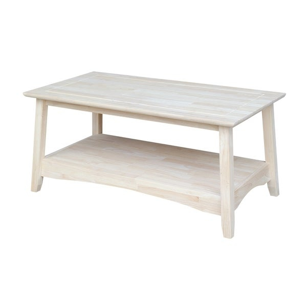 Shop Bombay Unfinished Solid Parawood Tall Coffee Table Regarding Unfinished Solid Parawood Hampton Coffee Tables (Image 12 of 25)