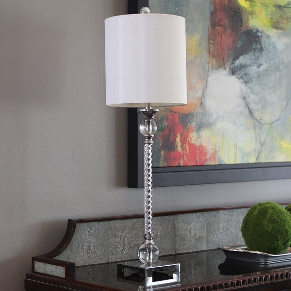 Shop Camilla Acrylic Twist Chrome Buffet Lamp – On Sale Regarding Camilla 9 Light Candle Style Chandeliers (View 19 of 20)
