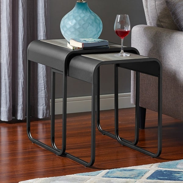Shop Carbon Loft Edelman Metal Nesting Table Set (Set Of 2 Regarding Carbon Loft Fischer Brown Solid Birch And Iron Rustic Coffee Tables (View 11 of 25)