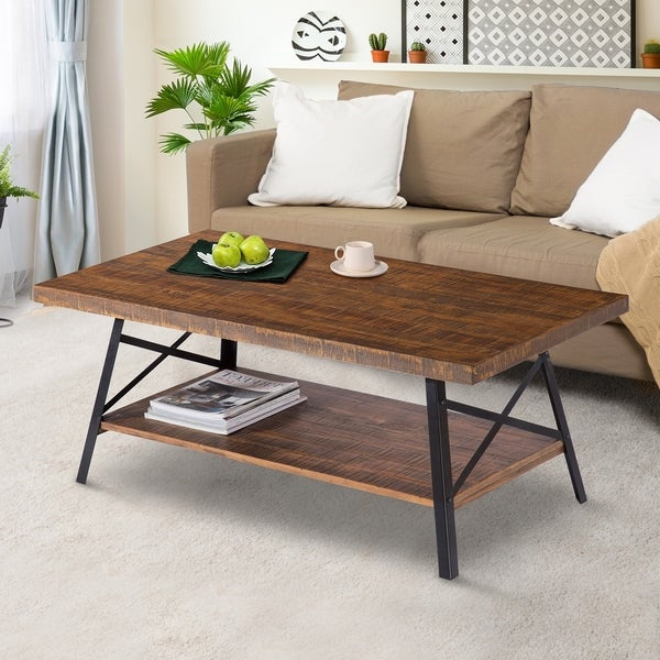 Shop Carbon Loft Enjolras Wood/ Steel Coffee Table – On Sale Pertaining To Carbon Loft Oliver Modern Rustic Natural Fir Coffee Tables (View 8 of 25)