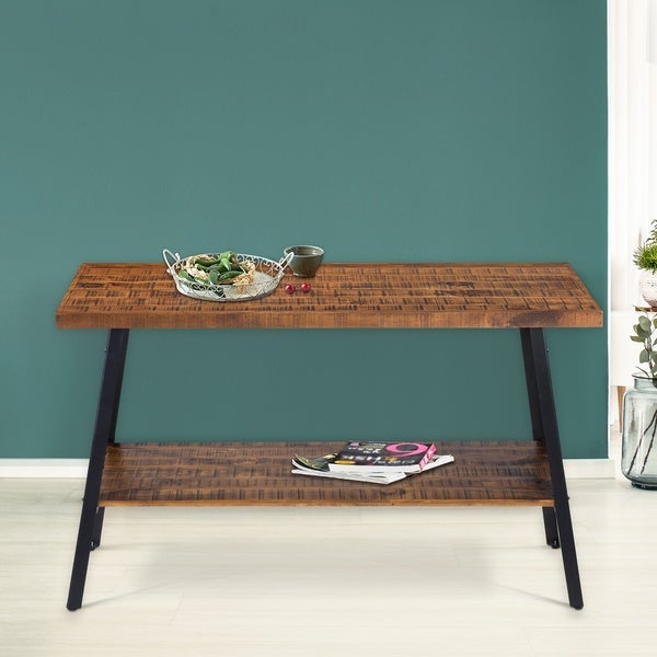 Shop Carbon Loft Enjolras Wood/ Steel Console Table – On For Carbon Loft Enjolras Wood Steel Coffee Tables (View 5 of 25)
