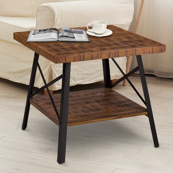 Shop Carbon Loft Enjolras Wood/ Steel End Table – On Sale With Regard To Carbon Loft Enjolras Wood Steel Coffee Tables (View 3 of 25)