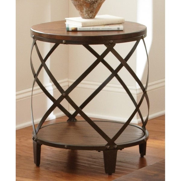 Shop Carbon Loft Fischer Solid Birch/ Iron Round End Table Pertaining To Carbon Loft Fischer Brown Solid Birch And Iron Rustic Coffee Tables (View 6 of 25)