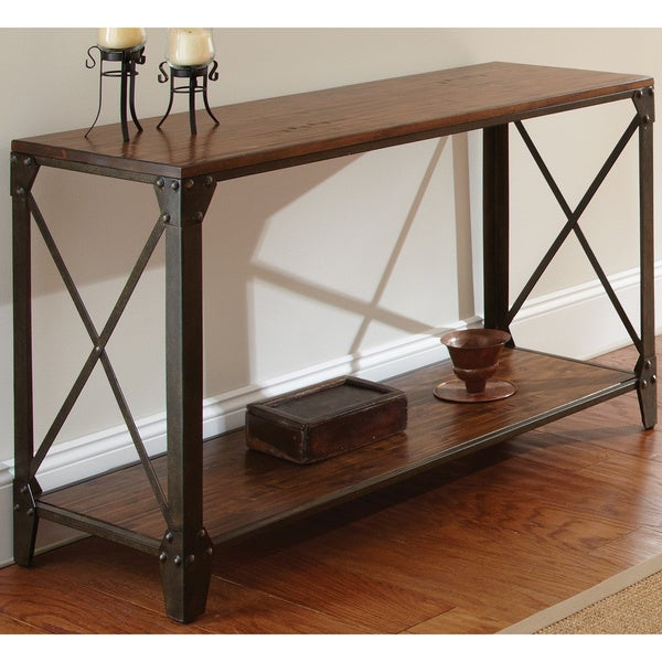 Shop Carbon Loft Fischer Solid Wood And Iron Rustic Sofa Intended For Carbon Loft Fischer Brown Solid Birch And Iron Rustic Coffee Tables (View 4 of 25)