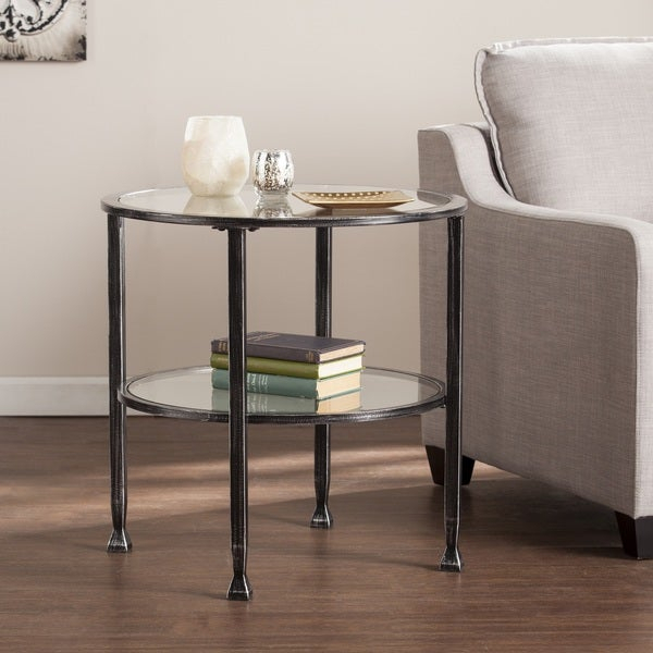 Shop Carbon Loft Glenn Black Metal/ Glass Round End Table With Regard To Carbon Loft Heimlich Metal Glass Rectangle Coffee Tables (View 10 of 25)