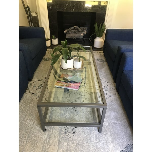 Shop Carbon Loft Heimlich Metal/glass Rectangle Coffee Table Within Carbon Loft Heimlich Metal Glass Rectangle Coffee Tables (View 3 of 25)