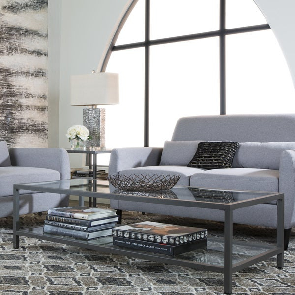 Shop Carbon Loft Heimlich Metal/glass Rectangle Coffee Table Within Carbon Loft Heimlich Pewter Steel/glass Round Coffee Tables (View 11 of 25)