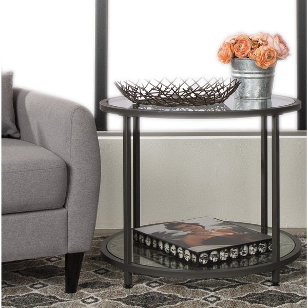 Shop Carbon Loft Heimlich Pewter Metal Round Side Table Intended For Carbon Loft Heimlich Metal Glass Rectangle Coffee Tables (View 8 of 25)