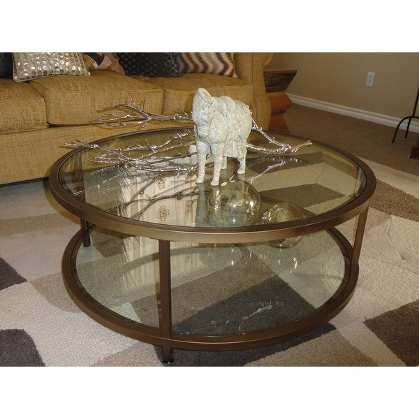 Shop Carbon Loft Heimlich Pewter Steel/glass Round Coffee In Carbon Loft Heimlich Pewter Steel/glass Round Coffee Tables (View 2 of 25)