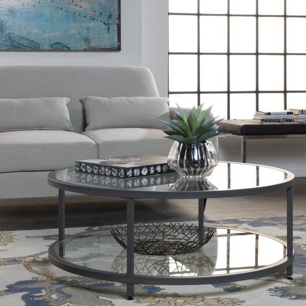Shop Carbon Loft Heimlich Pewter Steel/glass Round Coffee Pertaining To Carbon Loft Heimlich Metal Glass Rectangle Coffee Tables (View 7 of 25)