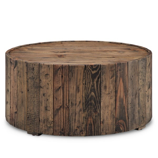 Shop Carbon Loft Horace Rustic Reclaimed Pine Round Coffee In Montgomery Industrial Reclaimed Wood Coffee Tables With Casters (View 24 of 50)