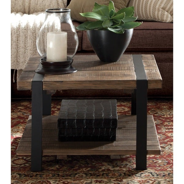 Shop Carbon Loft Kenyon Cube Brown Wood Rustic Coffee Table Regarding Carbon Loft Lawrence Reclaimed Cube Coffee Tables (Image 26 of 50)