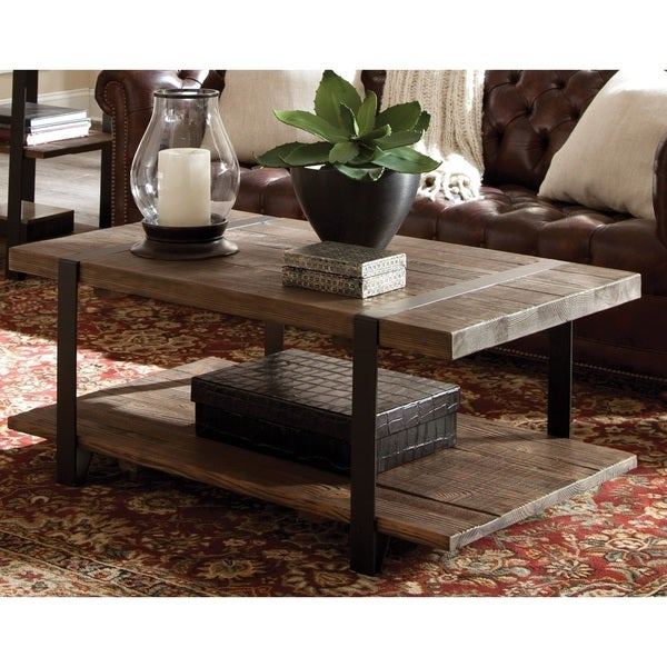 Shop Carbon Loft Kenyon Natural Rustic Coffee Table – On Pertaining To Carbon Loft Lawrence Reclaimed Cube Coffee Tables (Image 27 of 50)