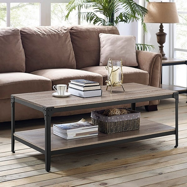 Featured Image of Carbon Loft Witten Angle Iron And Driftwood Coffee Tables