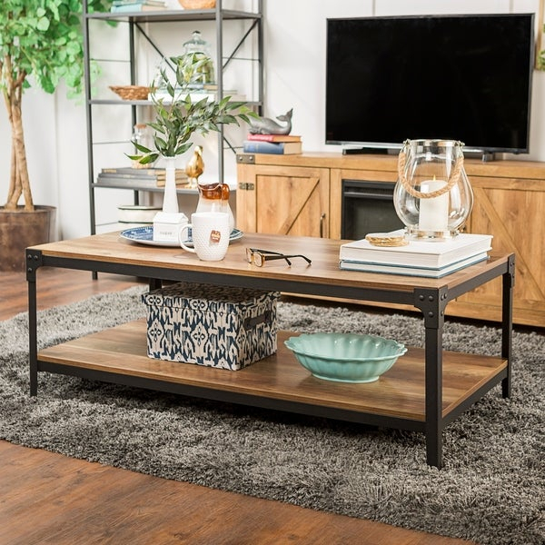 Shop Carbon Loft Witten Angle Iron Coffee Table – 48 X 24 X Inside Carbon Loft Witten Angle Iron And Driftwood Coffee Tables (View 7 of 25)