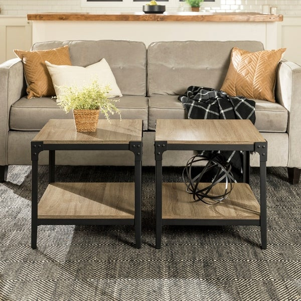 Shop Carbon Loft Witten Angle Iron End Table (Set Of 2) – 20 Within Carbon Loft Witten Angle Iron And Driftwood Coffee Tables (View 8 of 25)