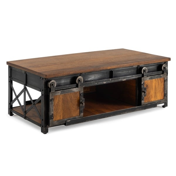 Shop Carnegie Industrial Coffee Table In Brownrst Brands Intended For Dravens Industrial Cherry Coffee Tables (Image 18 of 25)