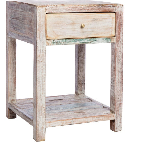 Shop Cg Sparks Stripped Teak End Table (India) – On Sale Intended For Handmade Whitewashed Stripped Wood Tables (Image 19 of 25)
