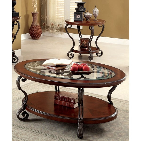 Shop Cohler Traditional Brown Cherry 2 Piece Coffee Table Within Cohler Traditional Brown Cherry Oval Coffee Tables (View 2 of 25)