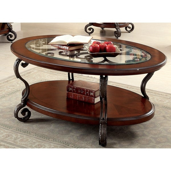 Shop Cohler Traditional Brown Cherry Oval Coffee Table For Gracewood Hollow Fishta Antique Brass Metal Glass 3 Piece Tables (View 12 of 25)