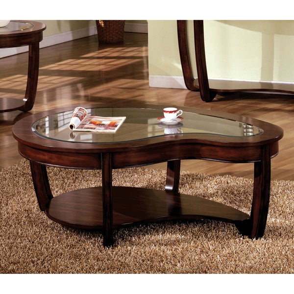 Shop Copper Grove Deerlodge Curved Dark Cherry Glass Top Within Furniture Of America Crescent Dark Cherry Glass Top Oval Coffee Tables (Image 48 of 50)