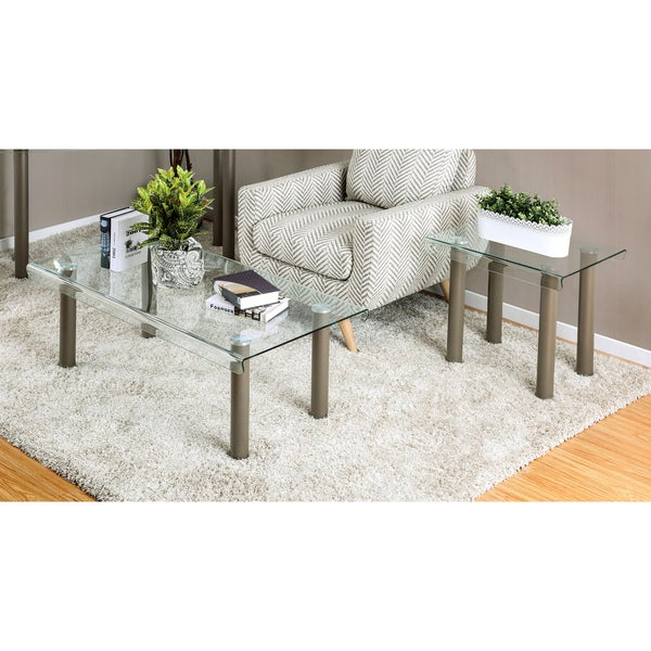 Shop Creme Contemporary Champagne 2 Piece Glass Top Accent Regarding Mishie Contemporary Champagne 2 Piece Accent Tables Set By Foa (View 9 of 25)