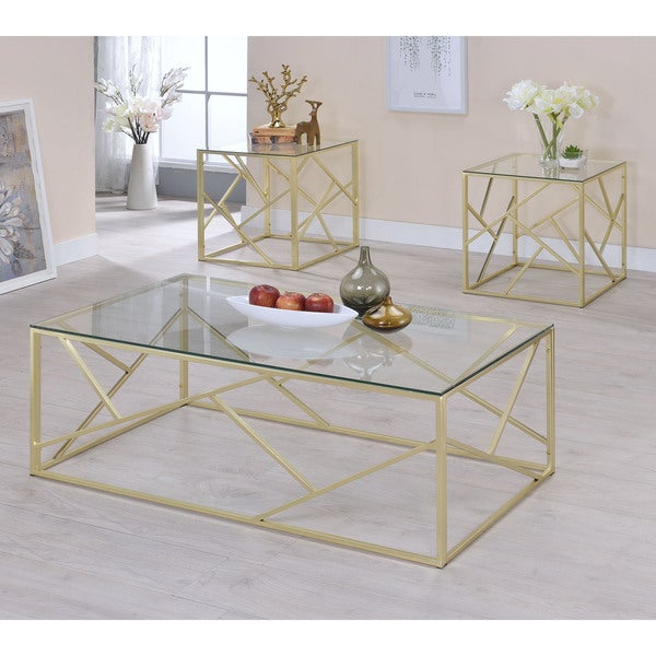 Shop Enderin Contemporary 3 Piece Tempered Glass Accent For Mishie Contemporary Champagne 2 Piece Accent Tables Set By Foa (View 11 of 25)