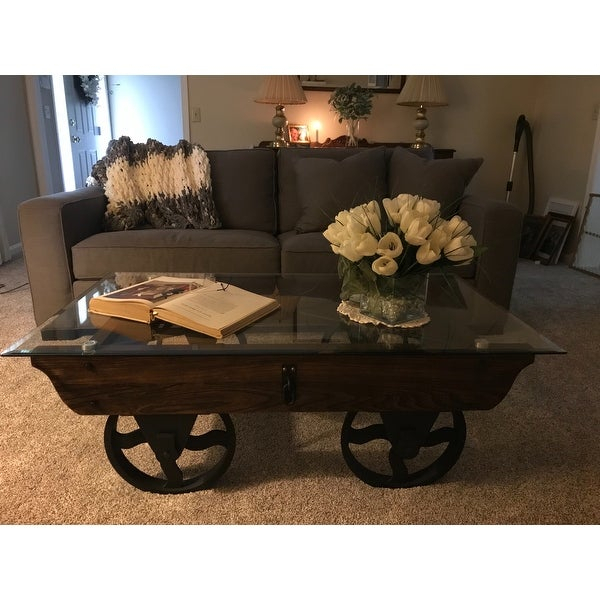 Shop Furniture Of America Charlotte Weathered Oak Glass Top Throughout Furniture Of America Charlotte Weathered Oak Glass Top Coffee Tables (View 2 of 50)