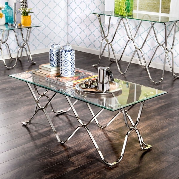 Featured Image of Furniture Of America Tellarie Contemporary Chrome Coffee Tables