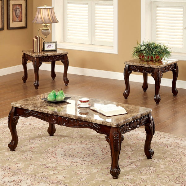 Shop Gracewood Hollow Mckinley Traditional 3 Piece Accent With Regard To Gracewood Hollow Fishta Antique Brass Metal Glass 3 Piece Tables (View 3 of 25)