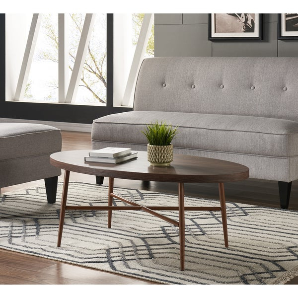 Shop Handy Living Miami Brown Oval Coffee Table With Brown Intended For Handy Living Miami White Oval Coffee Tables With Brown Metal Legs (View 3 of 25)
