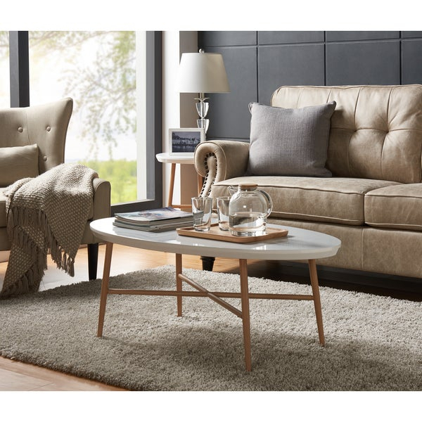 Shop Handy Living Miami White Oval Coffee Table With Light Throughout Handy Living Miami White Oval Coffee Tables With Brown Metal Legs (View 5 of 25)