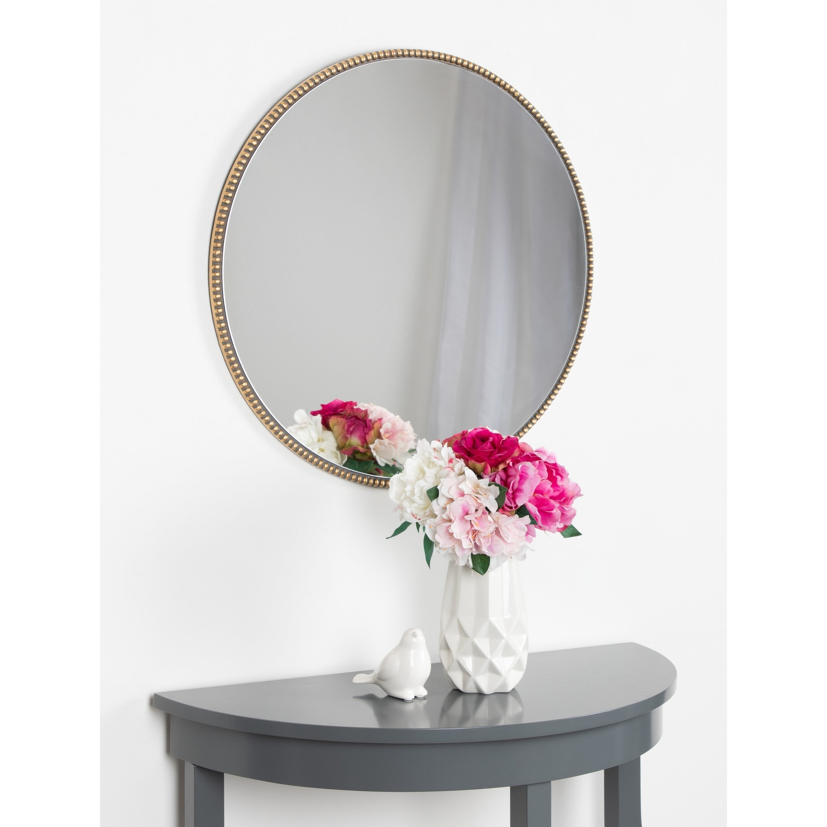 Shop Kate And Laurel Gwendolyn Round Beaded Accent Wall Pertaining To Beaded Accent Wall Mirrors (View 11 of 20)