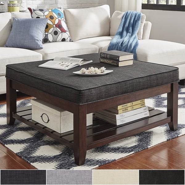 Shop Lennon Espresso Planked Storage Ottoman Coffee Table For Lennon Pine Planked Storage Ottoman Coffee Tables (View 4 of 25)