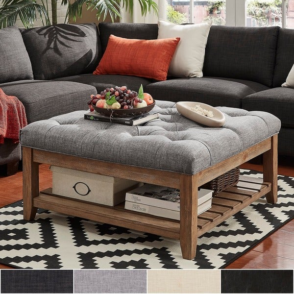Featured Image of Lennon Pine Planked Storage Ottoman Coffee Tables