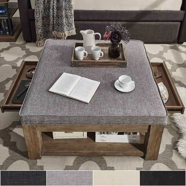 Featured Image of Lennon Pine Square Storage Ottoman Coffee Tables