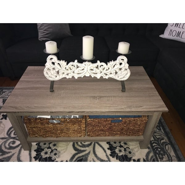 Shop Middlebrook Designs 40 Inch Coffee Table With Wicker Inside Rustic Coffee Tables With Wicker Storage Baskets (Image 20 of 25)