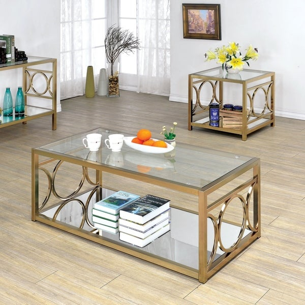Featured Image of Mishie Contemporary Champagne 2 Piece Accent Tables Set By Foa
