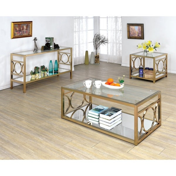Shop Mishie Contemporary Silver 3 Piece Glass Top Accent Intended For Mishie Contemporary Champagne 2 Piece Accent Tables Set By Foa (View 8 of 25)