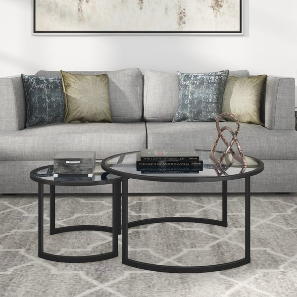 Shop Mitera Round Metal/glass Nesting Coffee Tables Set Of 2 Within Carbon Loft Heimlich Pewter Steel/glass Round Coffee Tables (View 22 of 25)