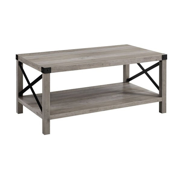 "Shop Offex 40"" Rustic Urban Industrial Style Metal X Coffee Throughout The Gray Barn Kujawa Metal X Coffee Tables – 40 X 22 X 18H (View 8 of 25)"